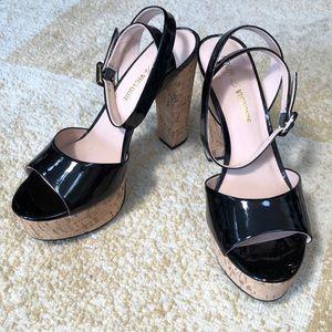 Pour la victoire black cork platform heels